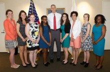 ISU Special education students, Washington DC immersion trip faculty advisor Stacey Hardin, and former U.S. Secretary of Education Arne Duncan.