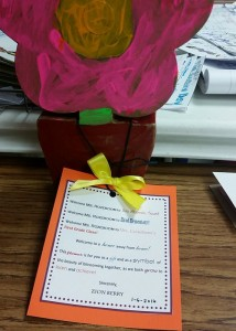 Elementary education major Brittney Rozebloom receives a welcome note and flower from her cooperating teacher and students at Elrod Elementary.