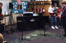 Students in Rock Band class