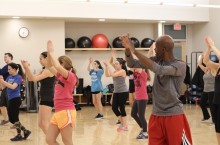 Students in a fitness class