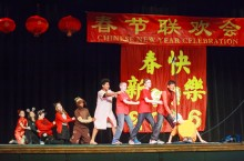Students performing in a Chinese celebration.