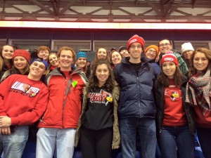 Honors students attending the Illinois State hockey game