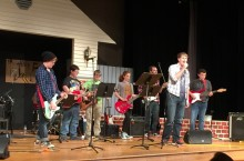 Metcalf students perform with their Rock Band class.