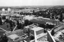 Aerial view of campus from the 1960's