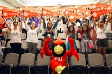 2015 NTCon event attendees with Reggie Redbird.