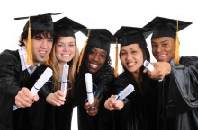 Students in graduation gear