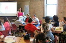 Preservice teachers with students