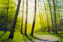 painting of trees and sunset