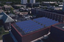 A rendering of a proposed solar-energy gathering site at the top of the Center for Performing Arts.