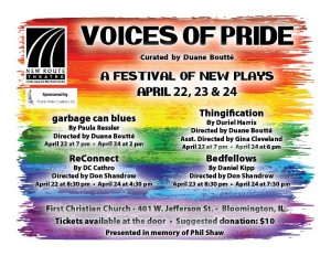 poster form Voices of Pride play festival