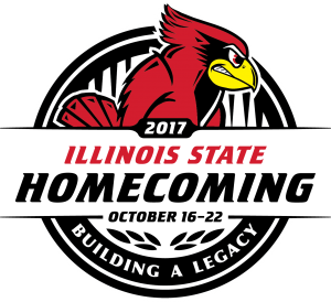 Homecoming logo with the words Illinois State Homecoming: Building a Legacy, October 16-22, 2017