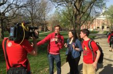 Keith Habersberger interviews students