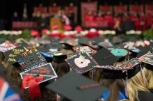 Mortarboards in a crowd