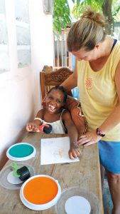 Nathalie worked with Jamie Schumacher last year to use rollers and paint pads designed for special-needs kids.