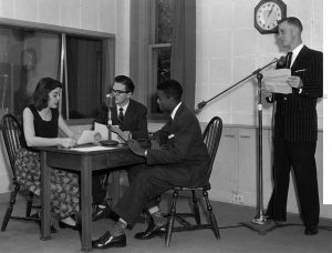 A 1956 broadcast, opposite page, captures the educational programming done from the 1930s into the 1950s. WJBC offered airtime to the ISU station. (Courtesy of the Dr. Jo Ann Rayfield Archives at Illinois State University) GLT