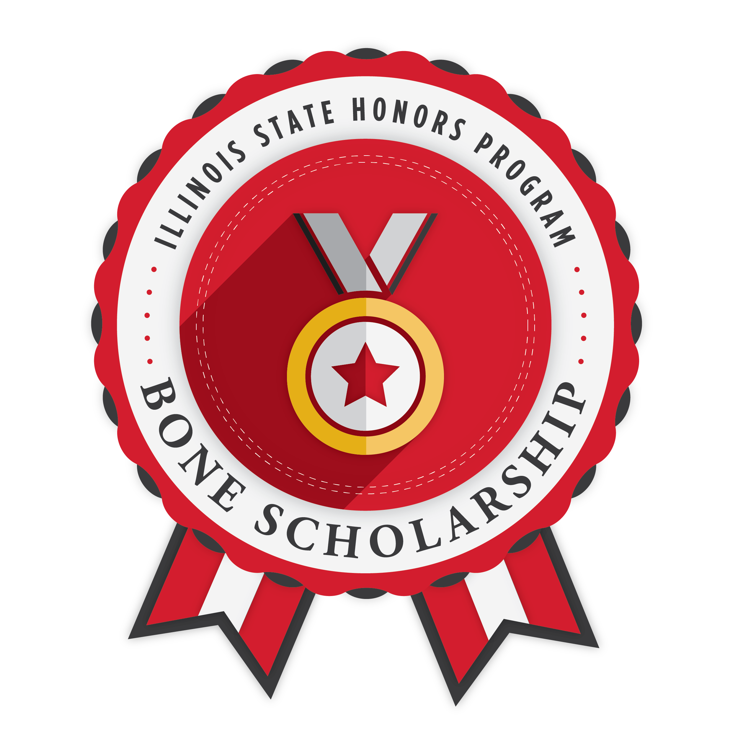 Badge for the Bone Scholarship, with the words Illinois State Honors Program.