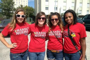 Ana and her friends from her dorm attend their first Redbird football game during freshman year. From the left: Alexandra Drennan, Kelly Papanicholas, Ana Pyper, and Briana Chambers.