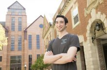 Joshua Feinstein posed on the Quad
