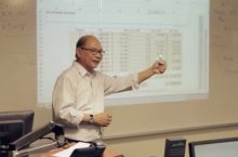 Professor teaching in the actuarial program
