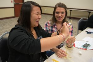 Students participate in team-building exercises at the Transfer Student Career Conference. transfer students