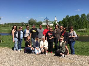 Students pose during Russia trip