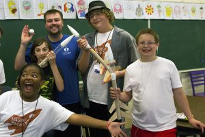 Posing with their rockets at the Mission to Mars camp.