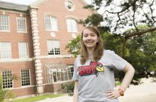 Elise Webber poses on the Quad
