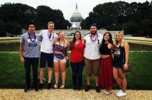 Students pose on the National Mall
