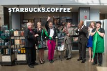image of ribbon cutting of Starbucks