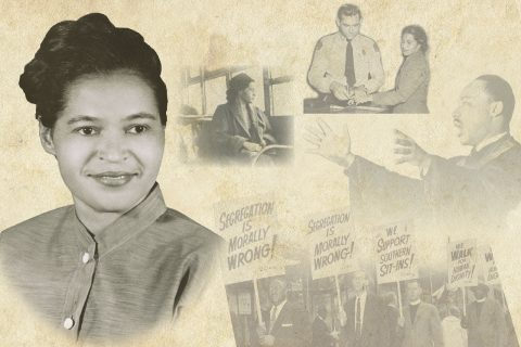 A montage of images in the new Rosa Parks Room in Watterson Residence Hall. Photo courtesy of the Library of Congress.