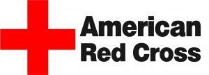 American Red Cross logo with the words American Red Cross and a red cross.