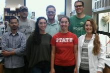 image of Andy Mitchell, top right, and the students of his organic chemistry lab.
