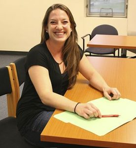 Lauren Troxtel at a desk