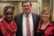 image of President Larry Dietz (center) with 2916 SECA Co-Chairs Judi Khalilallah (left) and Shelly Braxton.