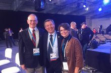 Professor Dave Thomas; Victor Babkin, of the Russian sports ministry; and Professor Karen Dennis at the Russian Sports Forum