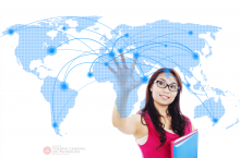 Student points to a map of the world