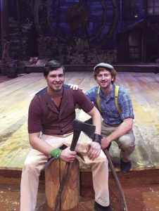 John Hanten (left) and Thomas Kawalek (right) onstage at Dolly Parton's Lumberjack Adventure Dinner and Show