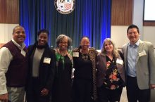 Pictured from left to right: Carlos Nelson, Greater Auburn Gresham Development Corp; Dawn Bennett, Multicultural Education Rights Alliance (McEra); Gloria Ladson-Billings, University of Wisconsin, Madison (keynote speaker); Jolyn E. Gardner, McEra; Kate Napolitan, University of Washington, Seattle; and Robert E. Lee, Illinois State University.