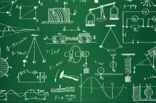 Image of physics equations, experiments, and symbols.