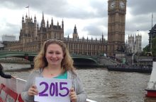 Emma Byall in front of Big Ben in London