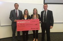 First-place winners of the Corporate Social Responsibility Case Competition sponsored by Caterpillar Inc.: Sean Fitzgerald (left), Morgan Loy, Emily Scaletta, and Scott Piekarski.