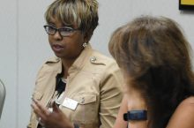 Wilma Bates of the Campus Climate Task Force makes a point at a recent meeting.