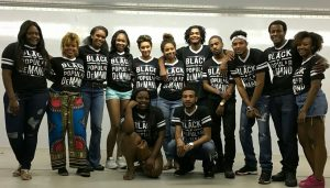 image of students form the Black Student Union board