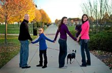 Erin Kennedy (right) with her family. From left to right, her husband, Steve, and daughters, Reagan and Cheyenne, and family dog Ziva.