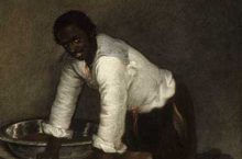 Man in a painting hunched over a bowl