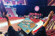 student mortarboard at winter commencement