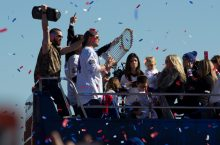 Jon Lester with World Series Trophy