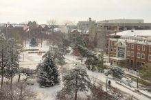 image of winter on the quad