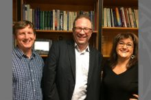 Photo of John Sedbrook, Christopher Breu, Maura Toro-Morn.