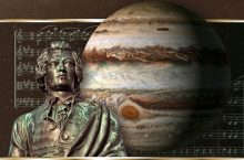 Photo illustration of W.A. Mozart and Jupiter